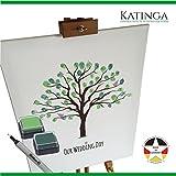 Leinwand zur Hochzeit -Motiv BAUM - als Gästebuch für Fingerabdrücke (40x50cm, inkl. Stift + Stempelkissen)