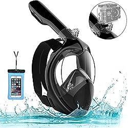 Marlrin Masque de Plongée, Masque de Snorkeling Panoramique Plein Visage 180° Visible Snorkel Masque Antibuée Anti-Fuite pour Adulte et Enfant avec la Support pour Caméra de Sport (Noir, S-M)