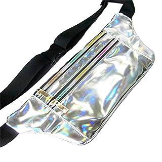 AZX Unisex Hologram Waist Pack Women Shiny Laser Waist Bag Fanny Packs Fashion Running Belt Waist Pouch For Travel Running Cycling (Silver)