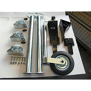 AVB Anhänger-Set Stützrad und Stützfüßen 700 mm mit Klemmhaltern und Unterlegkeilen schwarz & Schrauben