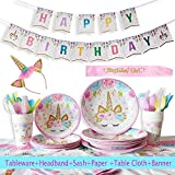YiRAN 116-Teiliges Einhorn Party Zubehör Set mit Banner, Teller, Becher, Servietten,Besteck Sets und Tischdecke mit Einhorn Stirnband und Geburtstag Mädchen Schärpe - Rosa Motto, für 16 Personen