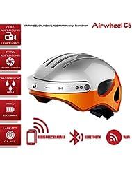 AIRWHEEL C5bicicleta casco con HD de cámara, altavoz y Bluetooth (Blanco de naranja), Kopfumfang XL Größe: 59-63cm