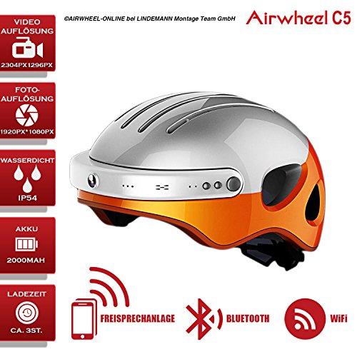 Fahrradhelm mit HD-Actionkamera AIRWHEEL C5. Helm mit integrierter Freisprecheinrichtung, HD-Kamera, Bluetooth. L Größe (Kopfumfang 53-58cm). Farbe: weiß-orange. TOP...