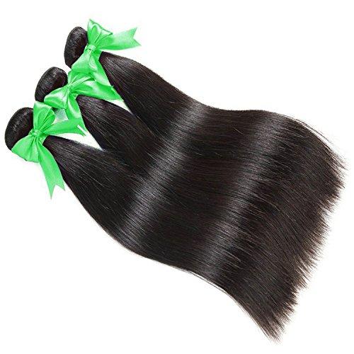 LANANEL brasilianisches glattes Haar 3Bundles 100% echte unverarbeitete brasilianische jungfräuliche Haare seidig gerade Bündel 8a gerade menschliche Haarbündel natürliche Farbe 300g/Lot (12 14 16 inches)