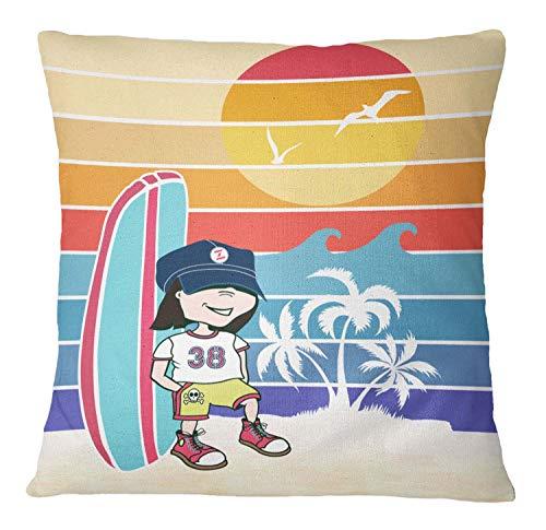 Segeltuch Kissenbezug Junge, Surfbrett und Strand Dekorative Werfen Square Kissenbezug Sofa Kissenbezug 1 Stck - 14 x 14 Zoll ()
