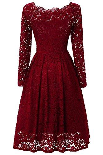 YaoDgFa Sexy Damen Kleider Spitze Abendkleid Cocktailkleid Partykleid Rockabilly Kleid Knielang Festlich Langarm Off Schulter Retro 1950er - 2