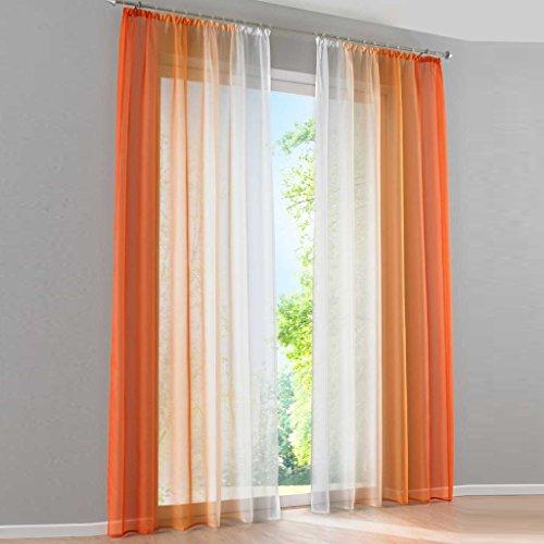 HongYa 2er-Pack Farbverlauf Gardinen Transparenter Voile Vorhänge Schals mit Kräuselband H/B 245/140 cm Orange