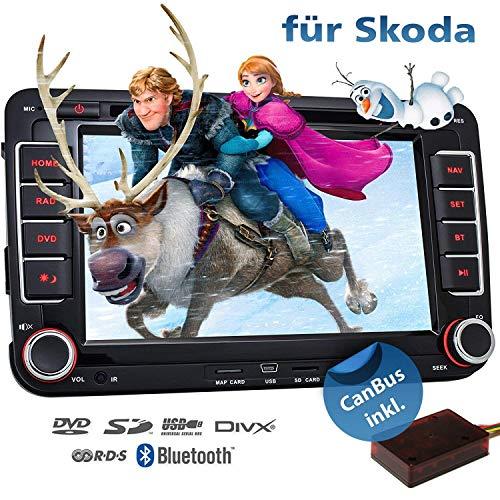 2DIN Autoradio CREATONE VW7000 für Skoda inkl. Can-BUS mit GPS Navigation (Europa-Karten - 47 Länder) | Freisprecheinrichtung | Bluetooth | 7 Zoll Touchscreen | Win CE | DVD-Player | USB/SD-Funktion