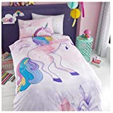 Lions Kids Duvet Cover Quilt Bedding Sets with Matching Pillowcases, Reversible (Panel-Unicorn, Single)