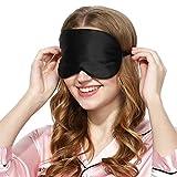 Rovy Store 100% Naturseide Schlafmaske Augenmaske & Augenbinde für Herren, Damen, Männer, Frauen, Mädchen, Girly, Beste Bequeme Schlafen Schlafmasken Auge Abdeckung für Reisen Cool Lustig Süß (Schwarz)