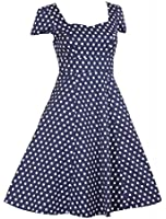 Vintage Polka Dot Dresses Cap Sleeves 50s 60s Rockabilly Swing Short Cocktail Dress Spotted Ladies Womens