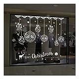 QTZJYLW Frohe Weihnachten Wandaufklebern DIY Dekoration Weihnachten Kugel Elch Buchstaben Muster Wandaufklebern Herausnehmbare PVC Wand Aufkleber Weihnachten Dekor (50 cm × 70 cm)