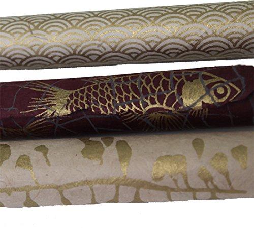 Maharanis - Set di 3 fogli di carta Lokta Daphne per imballaggio, bricolage e altro, colore prugna