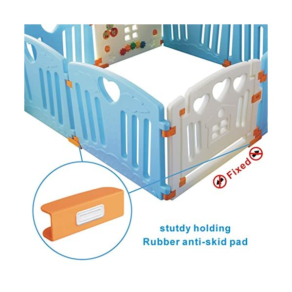 Baby Playpen Kids Activity Centre Safety Play Yard Home Indoor Outdoor New Pen (Multicolour, Classic Set 14 Panel) (Blue 8 Panel) Gupamiga MOM'S LIFESAVER: Keep baby safe in there play centre when mom/dad needs to cook, clean up, go to the bathroom, etc. STURDY HOLDING: Specially designed rubber feet underneath of the yard so the parts don't go sliding around. COVERS A LARGE AREA: It is a great amount of space for baby to learn walk and even laying with baby in it for play time. 6