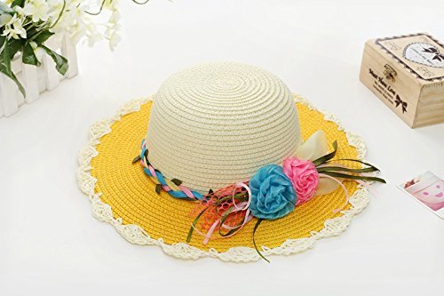 ZHANGYONG*La ragazza bambino estate cappello da sole Dolce stetson visiera sunscreen bambini hat cappello di paglia fisherman tappo , spiaggia (54cm) , Arancia