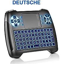 Mini teclado con touchpad iluminada, teclado inalámbrico con ratón, 2.4GHz QWERTY Keyboard Inalámbrico, teclado USB Mando a distancia, para Smart TV, HTPC, IPTV, Android TV Box, Xbox360, PS3, PC, etc. Deutsch