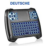 Mini Tastatur mit Touchpad Beleuchtet, Deutsch Funktastatur mit Maus, 2.4GHz QWERTY Keyboard Kabellos, Wireless Tastatur USB Fernbedienung, für Smart TV, HTPC, IPTV, Android TV Box, XBOX360, PS3, PC, usw. (Deutsch)