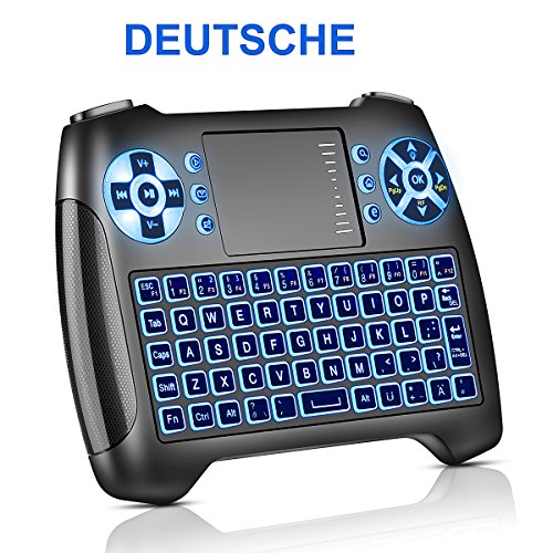 Mini Tastatur mit Touchpad Beleuchtet, Deutsch Funktastatur mit Maus, 2.4GHz QWERTY Keyboard Kabellos, Wireless Tastatur USB Fernbedienung, für Smart TV, HTPC, IPTV, Android TV Box, XBOX360, PS3, PC, usw. (Deutsch) (Wireless Maus-tastatur-ergonomische)
