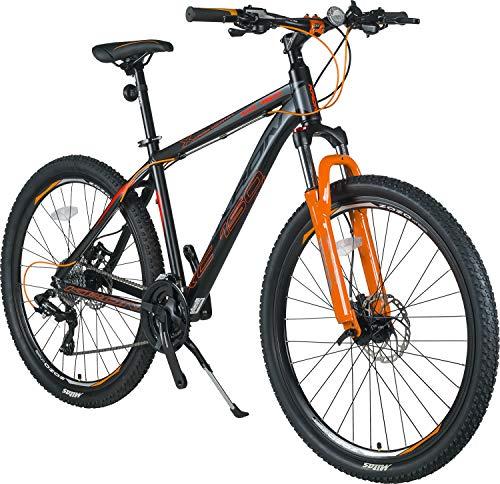 KRON XC-150 High-Class Aluminium Mountainbike 27.5 Zoll | 24 Gang Shimano Kettenschaltung, Hydraulische Shimano Scheibenbremse, Lockout Gabel | 18 Zoll Rahmen | Schwarz & Orange (Und Orange Schwarz)