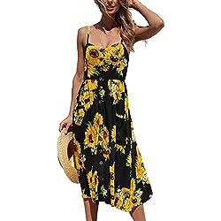 Angashion Damen V Ausschnitt Spaghetti Buegel Blumen Sommerkleid Elegant Vintage Cocktailkleid Kleider Schwarz L