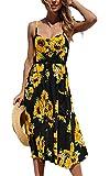 Angashion Damen V Ausschnitt Spaghetti Buegel Blumen Sommerkleid Elegant Vintage Cocktailkleid Kleider Schwarz XXL
