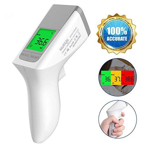 NURSAL Fieberthermometer, Infrarot Stirnthermometer Digital Thermometer - für Baby Kinder Erwachsene,Professionelle Medizinisches,Fieberwarnung, CE/FDA Zertifiziert (NEW)