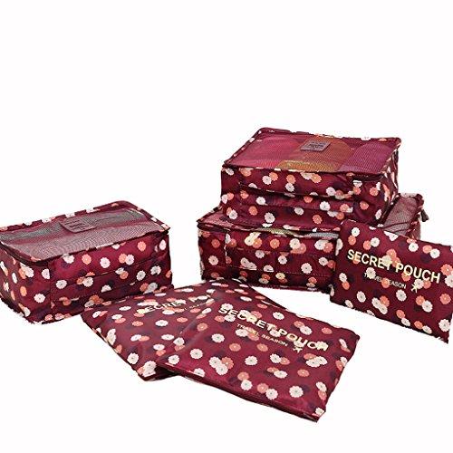 6er Set Packtaschen Kofferorganizer Reisetasche Beutel Kleidertasche Kulturtasche Schuhtasche Blümchen Koffer Organizer Aufbewahrungstasche aus Nylon Bluchen WEINROT