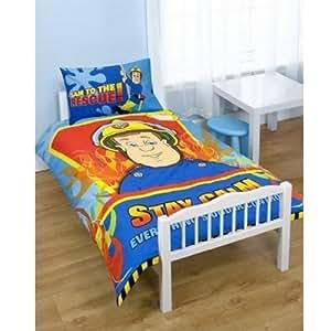 FIREMAN SAM KIDS BOYS JUNIOR TODDLER COT BED DUVET QUILT ...