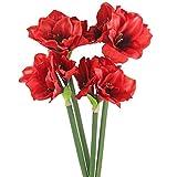 Amaryllis künstlich rot Textilblume Weihnachtsdeko 60 cm 4 Stück