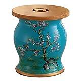 XIAOLVSHANGHANG HHCS Amerikanischen Stil Dressing Hocker Bambus Holz Keramik Trommel Hocker Schuhe Hocker Blume Vogel Porzellan Hocker Lagerung (27 * 31 cm) Hocker & Stühle (Farbe : B)