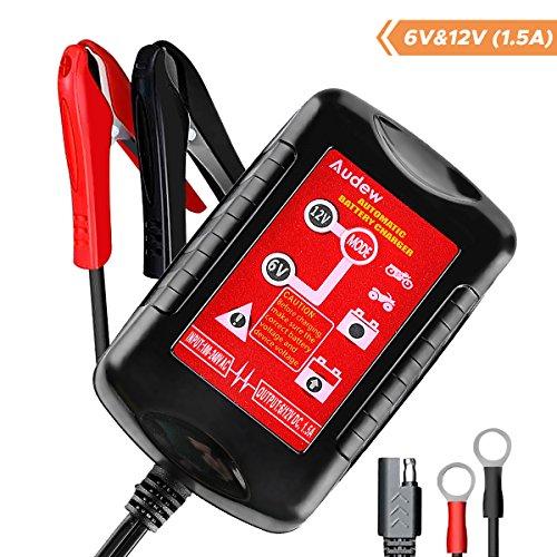 Audew Caricabatteria e Mantenitore di Carica Intelligente Batteria Caricabatteria per Auto, Moto, Camper, ATV 6V/12V 1.5Amp