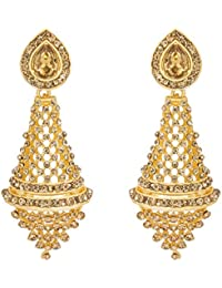 The Luxor Stylish Fancy Party Wear Gold Plated American Diamond Chandelier Dangler Earrings For Girls And Women