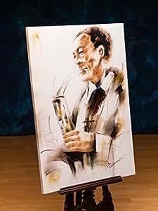 Peinture à l'huile imprimée - toile sur châssis - motif saxophoniste de jazz - 90 x 60 cm