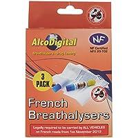 AlcoDigital Alcoholímetro francés NF aprobado único uso (juego de 3 unidades)