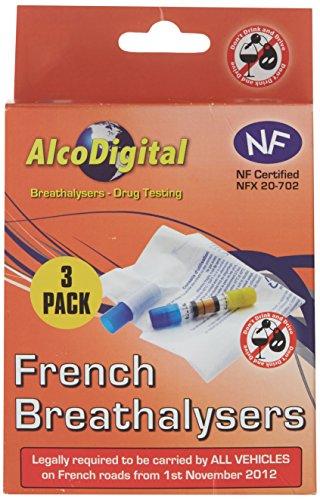 AlcoDigital Französische NF geprüft Single Nutzung Alkoholtest (3 teiliges Set)