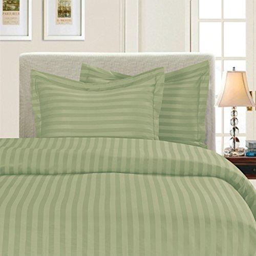 Elegant Comfort Seidig weich, Fadenzahl 1500 Gestreift Full/Queen Graugrün/Grün