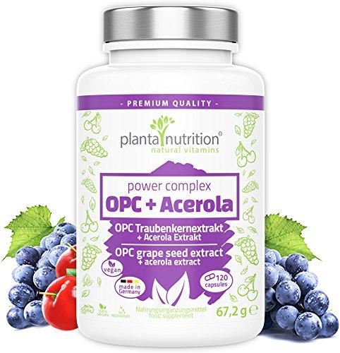 OPC Traubenkernextrakt Kapseln hochdosiert - Premium Formel: 1022mg reines OPC + 68mg natürliches Vitamin C aus Acerola pro Tagesdosis - 120 hochwertige vegane OPC-Kapseln - made in Germany
