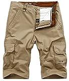 SZAWSL Herren Cargo-Shorts Freizeitshorts Kurze Sportshorts Hose mit Taschen aus 100% Baumwolle (Khaki, W44(DE 58/4XL)/Taille:109-111CM)
