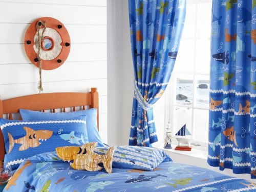 66x72-fully-lined-curtains-sea-world-blue-navy-dolphins-sharks-fish-bubbles-waves