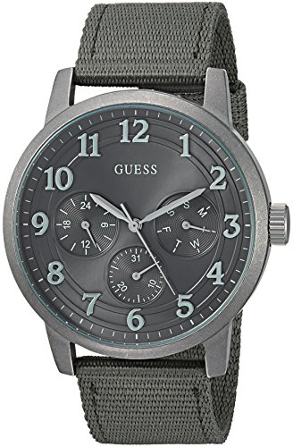 GUESS Men's Quartz Stainless Steel and Nylon Casual Watch, Color:Green (Model: U0975G4) -