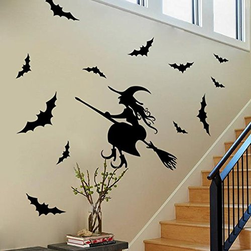 Halloween Einfache Kreative Kostüme (Tutoy Kreatives Halloween Haunted Haus Glas Hexe Wandaufkleber Hintergrund Dekoration Sticker Wand)