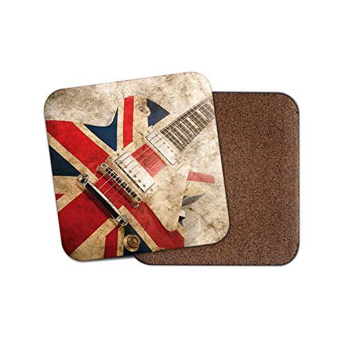 #16066 Untersetzer, Motiv: Brit Pop Rock Gitarre, britische Musik Flagge