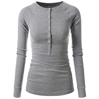 Nearkin (NKNKWBT64 Casual Slim Long Sleeve Button Henley Shirts Tunic Raglan Cotton Tops t Shirts for Women Darkgray UK 18(Tag Size 2XL)