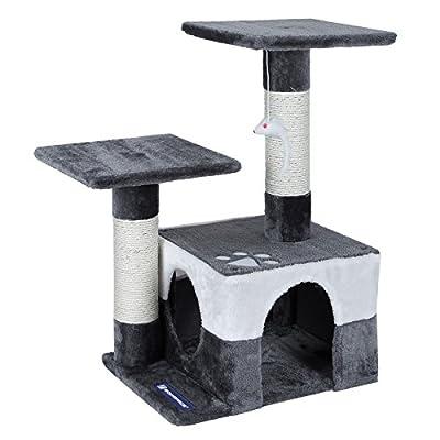 Songmics Cat Tree Cat Scratcher Activity Centres Scratching Post 68 cm Beige/Grey