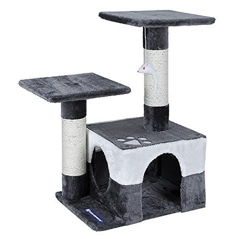 Songmics Cat Tree Cat Scratcher Activity Centres Scratching Post 68 cm Grey + White PCT27G
