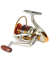 Huntvp Equipos de Pesca de Metal Completo Nuevo Estilo de Aluminio Agua Dulce y Agua Salada Carretes de Pesca Giratorio de Alta Velocidad Izquierda / Derecha Color Dorado