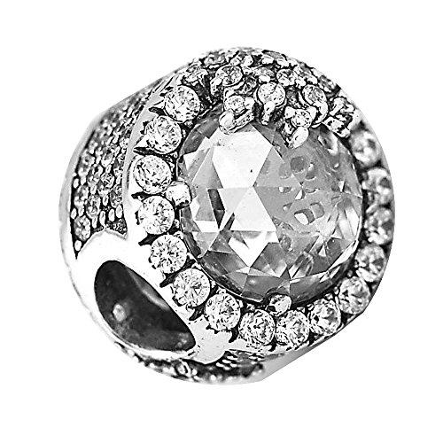 Cooltaste christmas gift dazzling fiocco di neve in argento sterling 925diy adatto per originale pandora braccialetti charm fashion jewelry