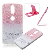 For Moto G4 [Slim Fit] Clear Rubber Case,For Moto G4 Ultra Thin Transparent Soft TPU Gel Back Case Cover,Herzzer Laconic [Colorful Printed] Soft Silicone Cover Visible Phone Skin Smooth Slim Shell Flexible Light Case Cover Scratch Resist Protection Protective TPU Bumper Jelly Case For Moto G4+ 1 x F