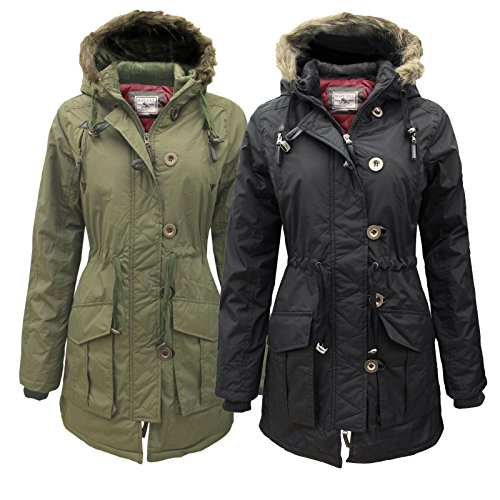 Montana Frauen Quilted Military Parka Furs Pelzkragen Kapuze Damen Jacke Mantel rot neu