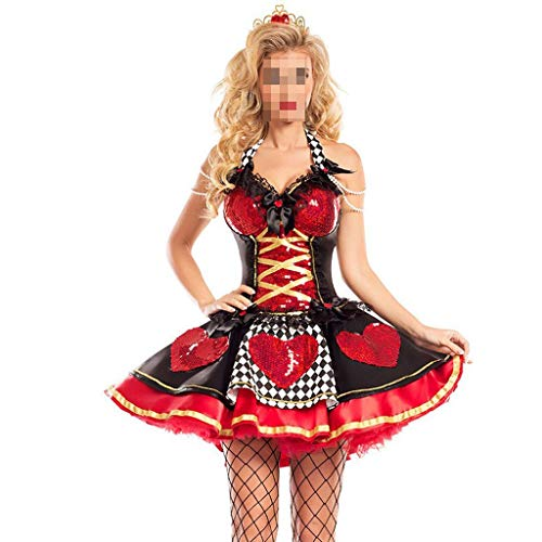 KODH Neue Halloween kostüm Cosplay rotes Herz königin Schlinge Dress Weihnachten Hexe Dress Prinzessin Tutu Maskerade dünne Rock (Color : Red, Size : XL) (Rote Herzen Prinzessin Kostüm)
